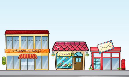 Ilustracja z wielu sklepów na ulicy