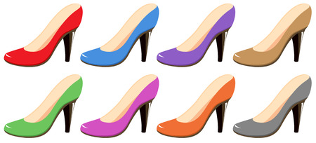 Illustration of different colors highheels Vector