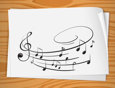 eight note: Illustration of a sheet of music notes Illustration