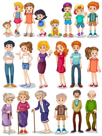 cliparts: Illustratie van een set van familie