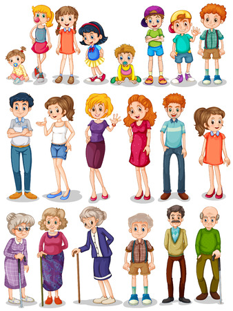 family picture: Illustration of a set of family Illustration