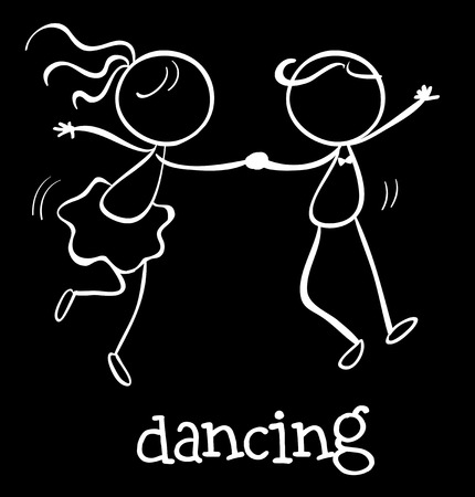 Illustration of a boy and a girl dancing Vector