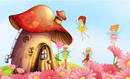 magic mushroom: Illustration of a big mushroom house with fairies