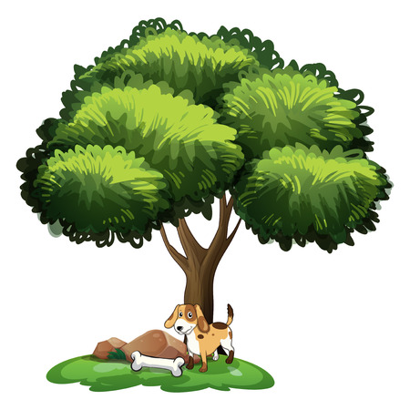 plant stand: Illustration of a dog standing under a tree