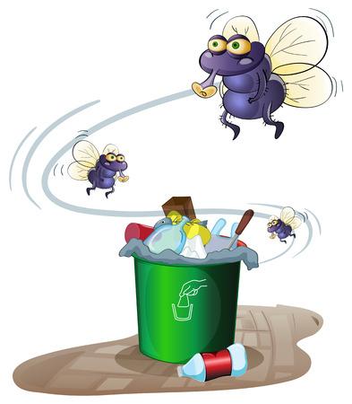 Illustration of a garbage bin and flies Illustration
