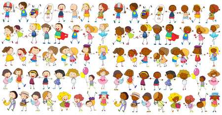 family playing: Illustration of diverse kids doodle