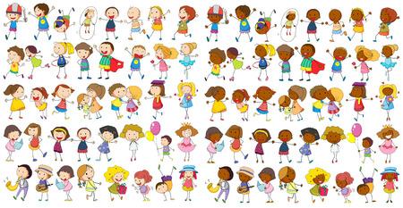 niños jugando: Ilustración de diverso doodle de niños Vectores