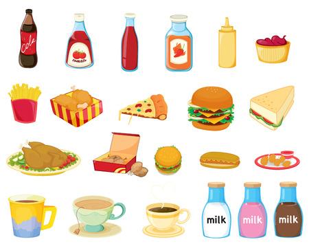 Illustration of a set of food Vector