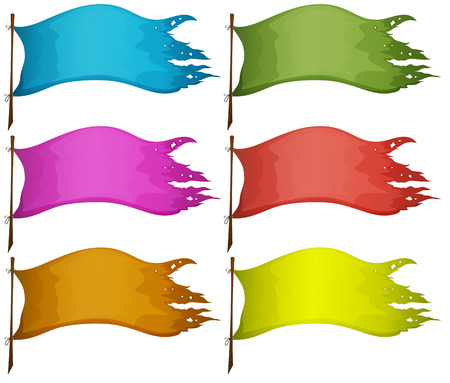Illustration of the sets of empty flags on a white background