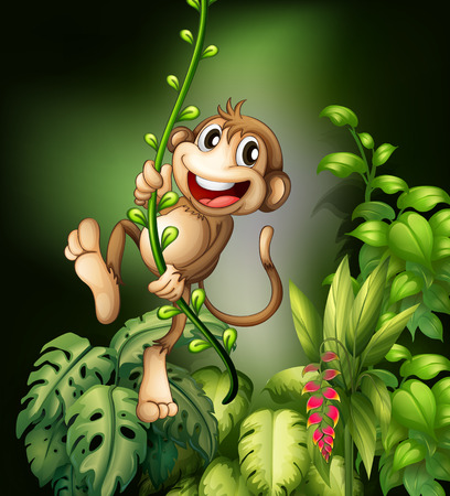 Illustration of monkey hanging on a vine Vector
