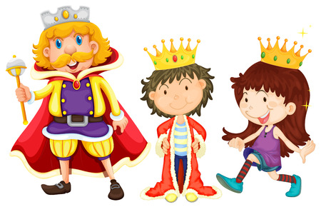 royal family: Illustration of a king, a prince, and a princess