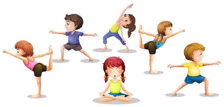 Illustration of many children stretching and meditating Ilustração