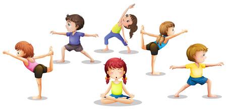 stretching: Ilustración de muchos niños de estiramiento y meditación Vectores