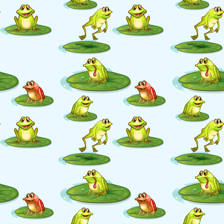 frog cartoon: Illustration of a seamless design of the frogs at the pond Illustration