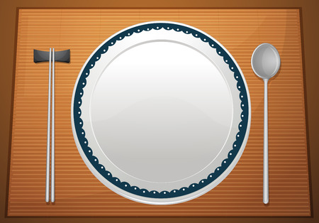 placemat: Illustration of an empty plate on a placemat