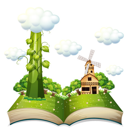 Illustration of a popup book with beanstalk Illustration