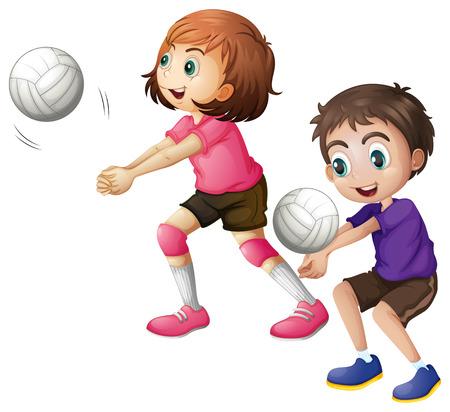 バレーボール、白い背景で遊ぶ子供たちのイラスト