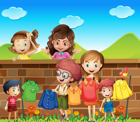 Illustration of many children doing laundry