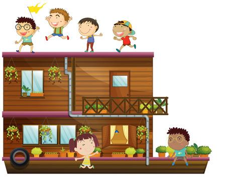 barco caricatura: Ilustración de los niños en un barco de madera Vectores