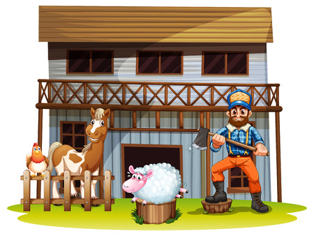 Illustration of many animals and a lumberjack Vector