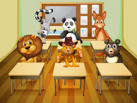 Illustration of many animals in a classroom Vector
