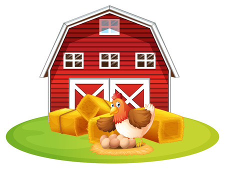 red barn: Illustration of a chicken and a barn