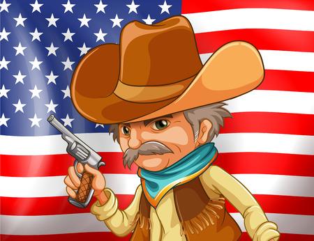 man gun: Illustration of an american flag and a cowboy