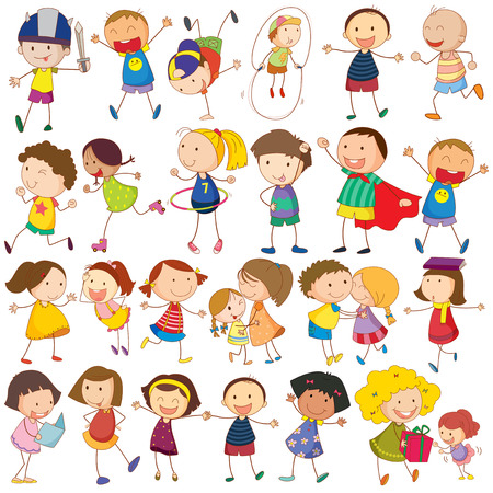 Illustration of many children in actions 版權商用圖片 - 31216500