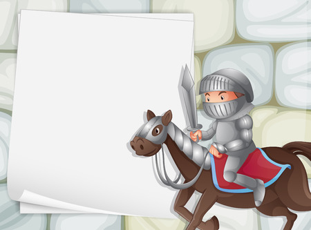 Illustration of a banner with a knight background Vector