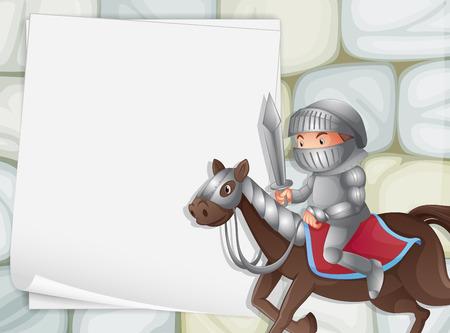 caballero medieval: Ilustración de una bandera con un fondo caballero Vectores