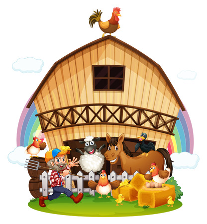 Illustration of a farm with farm animals on a white background Vector