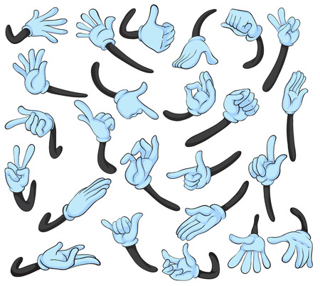 pointing finger up: Illustration of hand with different gestures