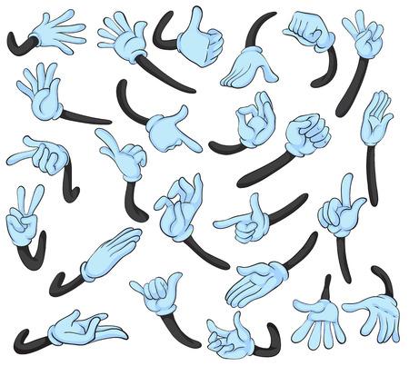 manos: Ilustraci�n de la mano con diferentes gestos Vectores
