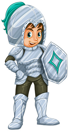 Illustration of a male knight in silver suit Vector
