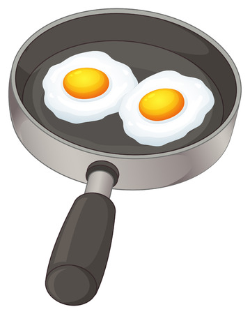 Illustration of the fried eggs on a white background Vector