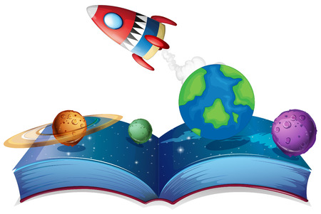 pluto: Illustration of a popup book with rocket