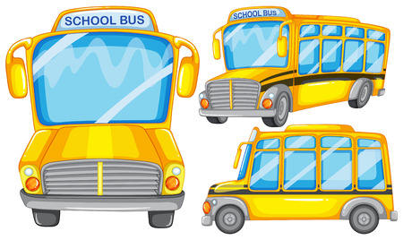 mini bus: Illustration of many school buses Illustration