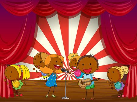 niños actuando: Ilustración de una banda tocando en el escenario