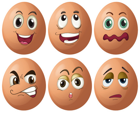 object with face: Illustration of egg with expressions Illustration