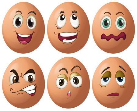 animal sad face: Illustration of egg with expressions Illustration