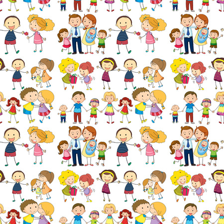 Illustration of a seamless family Vector