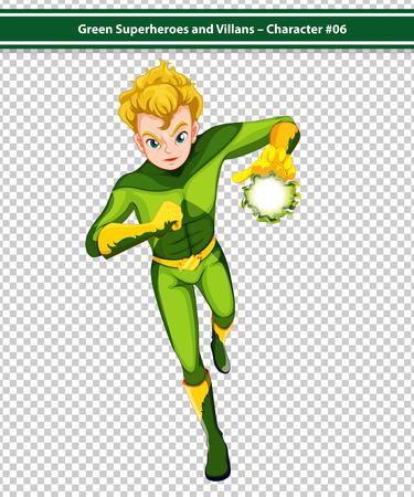 rescue imagine: Illustration of a male superhero with fireball