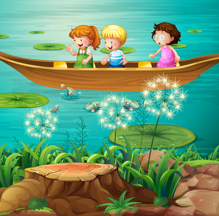 water lilly: Illustration of children rowing a boat in a pond