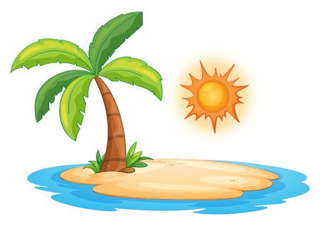 Ilustración de una isla desierta Ilustración de vector
