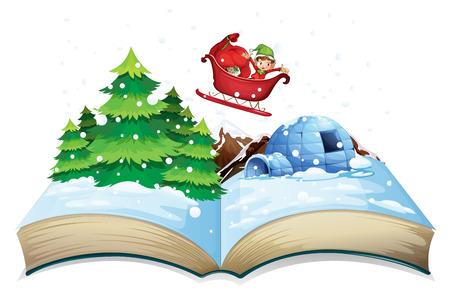 libro caricatura: Ilustración de un libro popup invierno Vectores