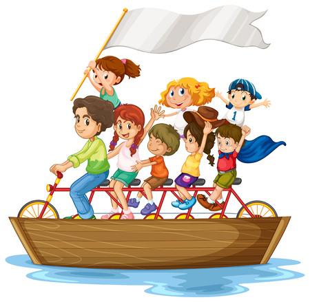 Illustratie van kinderen rijden fiets op een boot