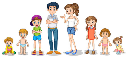 Illustration of a family members