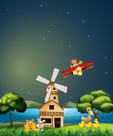 Illustration of a night view with windmill Vector