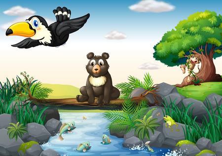Illustration of  many animals around the stream Vector