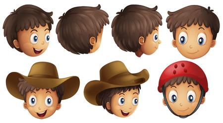 Illustration of a boy head in different position Vector